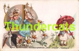 CPA LITHO FILLE POUPEE GIRL DOLL CARD PUB PUBLICITE DOBBELMANN STOOMZEEPFABRIEK HET ANKER NIJMEGEN - Children's Drawings
