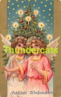 CPA LITHO ANGE NOEL SAPIN LITHO CARD CHRISTMAS ANGEL GIRL - Anges