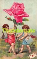 CPA ANGE ROSE FILLE LETTRE ANGEL CUPID GIRL ROSE CARD - Anges