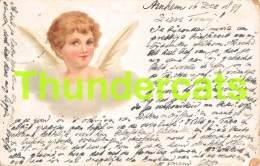 CPA LITHO ANGE FILLE 1899 LITHO CARD ANGEL 1899 ARNHEM ( PLI - CREASE ) - Anges