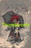 CPA EN RELIEF GAUFREE FILLE CHAT EMBOSSED CARD CHILD GIRL CAT UMBRELLA ( PLI - CREASE ) PFB 1964 - Children's Drawings