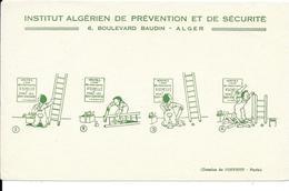 Buvard Ancien ASSURANCE : INSTITUT ALGERIEN DE PREVENTION ET SECURITE à ALGER - Dessins De OPPBTP Paris - échelles - Bank & Insurance