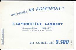 Buvard Ancien L' IMMOBILIERE LAMBERT Ave Mozart à Paris - VOUS CHERCHEZ UN APPARTEMENT ....   M.PUBLI Agence Immobilière - Buvards, Protège-cahiers Illustrés