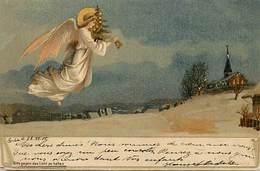 - Thèmes -ref-A706-  Fetes - Noel - Anges - Ange Avec Sapin Et Cloche - Circule En Decembre 1900 - Carte Bon Etat - - Altri