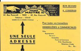 Buvard Ancien AGENCE IMMOBILIERE - MAITRE Fils Rue Pastorelli NICE - Illust.L.FALK -imp LENOIR Cannes - Buvards, Protège-cahiers Illustrés