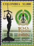COLOMBIA ,2015, MNH,POLICE, JUSTICE, SCALES, SCHOOL OF CRIMINAL INVESTIGATION,  1v - Police - Gendarmerie