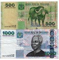 TANZANIA-LOTTO 2 BANCONOTE - Tanzanie