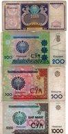 UZBEKISTAN-LOTTO 4 BANCONOTE-CIRCOLATE - Uzbekistan