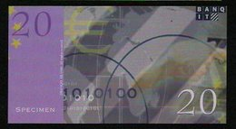 "ATM Test Note ""BANQIT"" Testnote, 20 EURO, Beids. Druck, RRRRR, Euro Size, UNC - EURO"