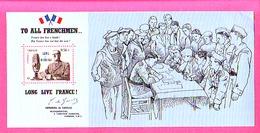 DE GAULLE APPEL DU 18 JUIN 1940 PROVENANT DU BLOC SOUVENIR  N°48 TO ALL FRENCHMEN LONG LIVE FRANCE  TIMBRE 0.56 - Autres