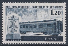 France Rep. Française 1975 Mi 2127 YT 2022 SC 1621 ** 60th Ann. Armistice / Waffenstillstandsvertrages, Compiègne 1918 - Treni