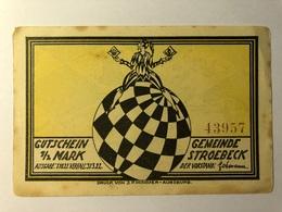 Allemagne Notgeld Stroebeck 1/2 Mark - [ 3] 1918-1933 : Weimar Republic