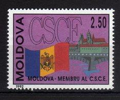 Moldova Moldavia 1992 MNH Admission To C.S.C.E. Bridge Flag 1 Val. - Moldavia