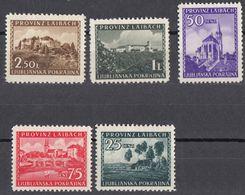 LUBIANA, OCCUPAZIONE TEDESCA - 1945 - Lotto Cinque Valori Nuovi (MH E MNH); Unificato 39, 40, 41, 42 E 46. - Deutsche Bes.: Lubiana