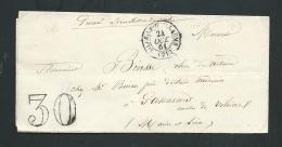 Lac De Sillé Le Guillaume ( Sarthe ) En Oct 1861 Non Affranchie  Taxe Tampon 30 Centimes  Ax14201 - Postmark Collection (Covers)