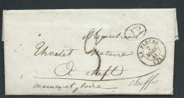 Lac De  La Flèche En 1841 Pour Cheffes ( Dpt 49 )  Taxe Tampon 2 + 1 Decime Rural Ax14206 - Marcophilie (Lettres)