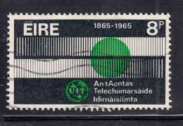 Ireland 1965 Used Scott #199 8p ITU Centenary Variety: Print Shift Grey Line At Top, Numerals - 1949-... République D'Irlande