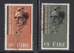 Ireland 1965 Used Scott #200-#201 Set Of 2 William Butler Yeats - 1949-... République D'Irlande
