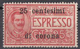 VENEZIA GIULIA, EMISSIONI GENERALI - 1919 - Espresso Sovrastampato 25 Cent Di Corona, Unificato E1, MH. - 8. Besetzung 1. WK