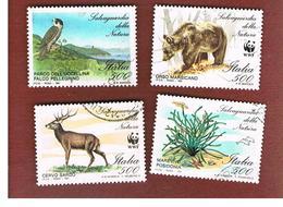 ITALIA REPUBBLICA  - SASS. 1975.1978     -      1991  FLORA E FAUNA, WWF   -      USATO - 6. 1946-.. Repubblica