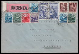 Busta Affrancata Con Lavoro E Democratica - Rovere Della Luna TN 30/10/51 - Taranto 3/11/51 (C) - 6. 1946-.. Repubblica