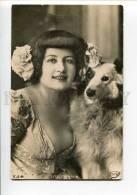 3000207 Lise FLEURON Famous Dancer & COLLIE Vintage PHOTO PC - Fencing