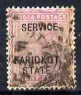 Indian States - Faridkot 1887, Official 8a Magenta Opt'd SERVICE Good Used With Squared-circle Cancel - Faridkot
