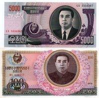 NORD COREA-LOTTO 2 BANCONOTE-UNC - Corea Del Nord
