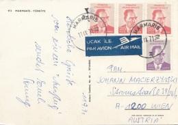 TÜRKEI 1971 - 4 Fach MIF Auf Ak MARMARIS, Gel.v.Marmaris > Wien - Türkei