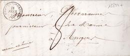18894# ARDENNES LETTRE Obl CHATEAU PORCIEN 1847 T15 PARIS ROUTE BLEU + ROUGE Pour ANGERS MAINE ET LOIRE - 1801-1848: Precursors XIX