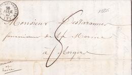 18895# ARDENNES LETTRE Obl CHATEAU PORCIEN 1847 T15 PARIS ROUTE BLEU Pour ANGERS MAINE ET LOIRE - 1801-1848: Precursors XIX