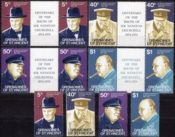 Churchill 100.Geburtstag 1974 Grenadinen 50/53+4 ZS ** 14€ Porträt Premier-Minister UK Person Se-tenants Of Vincent - Sir Winston Churchill