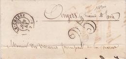 18900# ARDENNES LETTRE TAXE 25 DOUBLE TRAIT Obl LE CHESNE 1853 T15 Pour ANGERS MAINE ET LOIRE - 1849-1876: Classic Period
