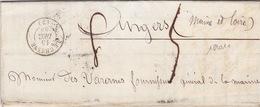 18901# ARDENNES AMELIORE DE 8 LA DATE DU CATALOGUE LETTRE 2ème ECHELON DE POIDS TAXE 50 Cts Obl LE CHESNE 1853 T15 - Marcofilie (Brieven)