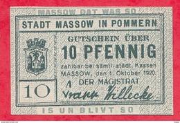 Allemagne 1 Notgeld 10 Pfenning Stadt Massow UNC Lot N °1774 (RARE) - [ 3] 1918-1933 : République De Weimar