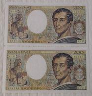 Billet Banque De France Suite 2 X 200 Francs Montesquieu 1994 B.157 N°404745/46. - 1962-1997 ''Francs''