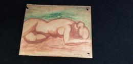 Sanguine Dessin : Femme Nue Allongée ( Seins Nus  ) Tableau Signé Du Marboré 21 - Other Collections