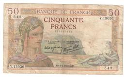 France 50 Francs 04/04/1940 - 1871-1952 Antichi Franchi Circolanti Nel XX Secolo