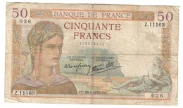 France 50 Francs 28/09/1939 - 1871-1952 Antichi Franchi Circolanti Nel XX Secolo