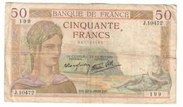 France 50 Francs 22/06/1939 - 1871-1952 Antichi Franchi Circolanti Nel XX Secolo