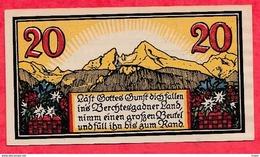 Allemagne 1 Notgeld 20 Pfenning  Berchtesgaden Dans L 'état Lot N °1789 (RARE) - [ 3] 1918-1933 : Repubblica  Di Weimar