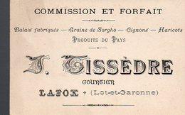 Lafox (47 Lot Et Garonne) Carte TISSEDRE (courtier)  (PPP12696) - Advertising