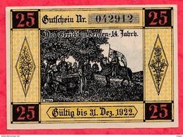 Allemagne 1 Notgeld 25 Pfenning  Bergen Dans L 'état Lot N °1792 (RARE) - [ 3] 1918-1933 : Repubblica  Di Weimar