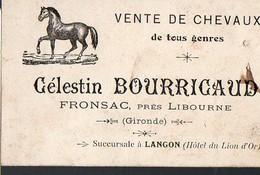 Fronsac (33 Gironde) Carte CELESTIN BOURRICAUD (vente De Chevaux) (PPP12698) - Advertising