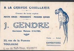 Toulouse (31 Haute Garonne) Carte J GENDRE (vente D'oiseaux Et Animaux Divers) (PPP12699) - Advertising