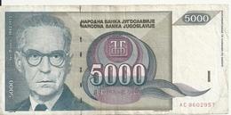 YOUGOSLAVIE 5000 DINARA 1992 VF P 115 - Jugoslavia