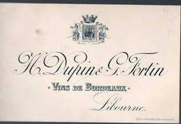 Libourne  (33 Gironde) Carte DUPIN ET FORTIN (vins)  (PPP12700) - Advertising