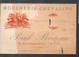 Libourne (33 Gironde) Carte PAUL BOILEAU Boucherie Chevaline (PPP12704) - Advertising