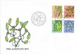 Fleur Toxique - Suisse FDC N°972 à 975 (Bern) 1974 O - Toxic Plants