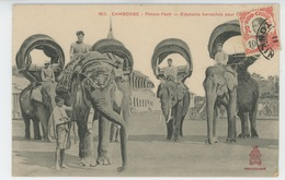 ASIE - CAMBODGE - PHNOM PENH - Eléphants Harnachés Pour.... - Cambodia